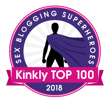 A badge for Kinly's 2018 Top 100 Sex Blogging Superheroes contest